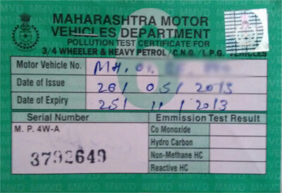 The law on pollution under control puc in india lawgic for Motor vehicle emissions test